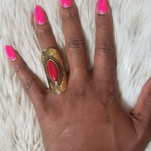 Antique Gold Toned Ring with Red Stone